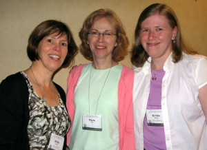 Newbery Honor award-winning author of HATTIE BIG SKY Kirby Larson (left), Tricia Tighe, and Emilie Bishop