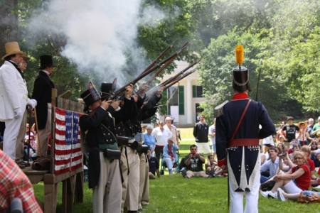 Firing of Muskets after the reading of the Declaration of Independence.