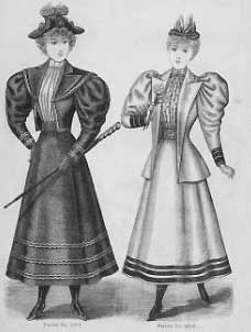black an d white sketch of two women in fashionable 1894 walking suits. Long full skirts, blouses tucked in, with boleros with large mutton sleeves and large lapels